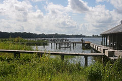 Piers on lakeside. Close up of piers leading to condominium on Lake Dora, Florida, U.S.A Stock Images