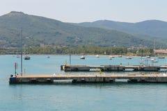 Piers of Portoferraio harbour on Elba island, Tuscany, Italy. Piers of Portoferraio harbour on Elba island, Tuscany in Italy Stock Photo