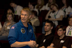 Piers Sellers, Earth Scientist and NASA Astronaut. Talking to Rocky Mountain High School students during Colorado Global Climate Conference, Fort Collins, April Stock Image
