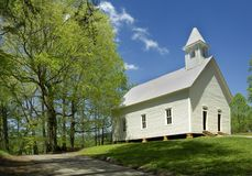 Pierwotny kościół baptystów w Cades zatoczce Dymiące góry, TN, U Zdjęcie Royalty Free