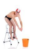 pierwsza lekcja pływania Zdjęcia Royalty Free