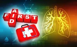 Pierwsza pomoc sześcianów 3d crossword, stetoskopu i pierwszej pomocy zestaw w medycznym technologii tle, świadczenia 3 d Obraz Stock