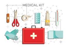Pierwsza pomoc zestaw z koniecznymi zawartość - sprzęt medyczny dla przeciwawaryjnego pomoc setu ilustracja wektor