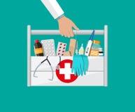 Pierwsza pomoc zestaw z pigułkami i urządzeniami medycznymi ilustracji