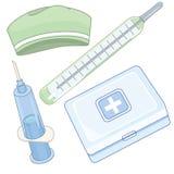 Pierwsza pomoc zestawu pudełko z sprzętem medycznym Obrazy Stock