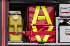 Pierwsza pomoc zestawu samochód strażacki fotografia royalty free