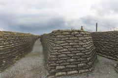 Pierwsza Wojna Światowa okopy w Flandryjskim, blisko Diksmuide. Obraz Stock