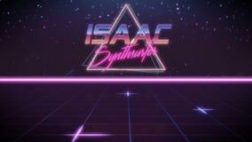 pierwsze imię Isaac w synthwave stylu royalty ilustracja