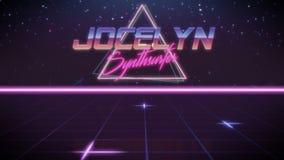 pierwsze imię Jocelyn w synthwave stylu royalty ilustracja