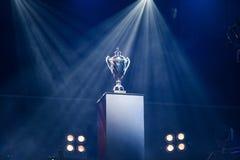Pierwszej nagrody trofeum na piedestale Zdjęcie Royalty Free