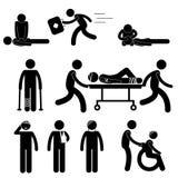 Pierwszej Pomocy pomocy CPR studenta medycyny oszczędzania życia ikony symbolu znaka Ratowniczy Przeciwawaryjny piktogram Fotografia Royalty Free