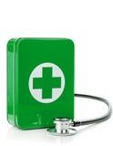 Pierwszej pomocy pudełko z stetoskopem obrazy royalty free