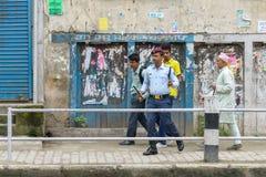 Pierwszorzędny minister Narendra Modi przyjeżdża w Kathmandu Fotografia Stock