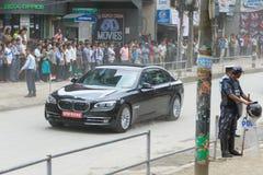 Pierwszorzędny minister Narendra Modi przyjeżdża w Kathmandu Fotografia Royalty Free
