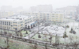 Pierwszy śnieg, pierwszy śnieżna burza Obrazy Royalty Free