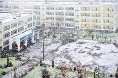 Pierwszy śnieg, pierwszy śnieżna burza Obrazy Stock