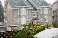 Pierwszy śnieg w Montreal Kanada zdjęcie royalty free