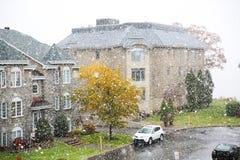 Pierwszy śnieg w Montreal Kanada zdjęcie stock
