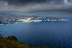 Pierwszy światło dzienne w zatoce los angeles Herradura, Granada Fotografia Stock