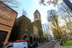 Pierwszy Congregational Zlany kościół Chrystus w w centrum Portlan obrazy stock
