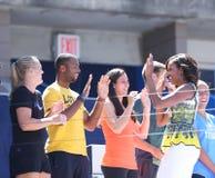 Pierwszy dama Michelle Obama łączył fachowymi gracz w tenisa przy Arthur Ashe dzieciaków dniem przy Billie Cajgowego królewiątka t zdjęcie royalty free