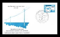 Pierwszy dnia Okładkowy list drukujący India obraz stock