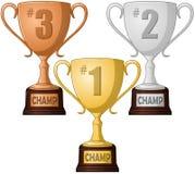 Pierwszy Drugi i Na Trzecim Miejscu trofeum paczka Zdjęcie Royalty Free
