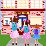 Pierwszy dzień szkoła royalty ilustracja