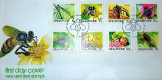 Pierwszy dzień pokrywa Nowi Ostateczni znaczki Singapur Zdjęcie Royalty Free