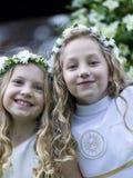 Pierwszy komunia - dwa dziewczyny Fotografia Royalty Free