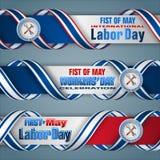 Pierwszy Maj, Międzynarodowy pracownika ` dzień, sieć sztandary Zdjęcia Stock