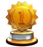 Pierwszy miejsca złocista nagroda, liczba jeden, przycina maskę Zdjęcie Royalty Free