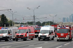 Pierwszy Moskwa parada miasto transport Obraz Stock