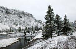 pierwszy n p rzeki śnieg Yellowstone Zdjęcia Royalty Free