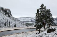 pierwszy n p rzeki śnieg Yellowstone Obrazy Stock
