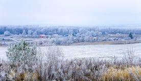 Pierwszy śnieg w wiosce Zdjęcia Stock