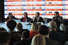Pierwszy oficjalna konferencja prasowa 41st Moskwa zawody międzynarodowi festiwal filmowy fotografia stock