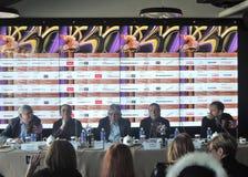 Pierwszy oficjalna konferencja prasowa 40th Moskwa Międzynarodowy Ekranowy festiwal Zdjęcia Stock