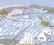 Pierwszy opad śniegu W jesieni royalty ilustracja