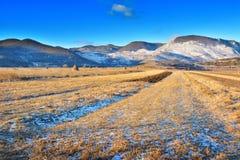 Pierwszy promienie słońce Coltesti Transylvania, Rumunia - Fotografia Royalty Free