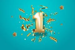 Pierwszy rocznicowy ?wi?towanie Z?ota liczba 1 z iskrzastymi confetti, gwiazdami, b?yskotliwo?? i streamer faborkami, Wektor ?wi? ilustracja wektor