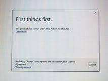 Pierwszy rzeczy Microsoft Office pierwszy instalacja obraz royalty free
