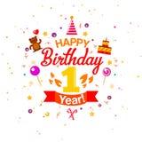 Pierwszy Urodzinowa powitanie karta Zdjęcia Stock