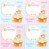 Pierwszy urodzinowy zaproszenie karty set Obrazy Stock