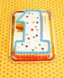 Pierwszy urodzinowy tort Fotografia Stock