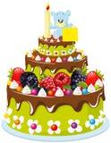 Pierwszy urodzinowy tort ilustracja wektor