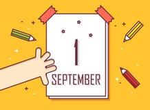 pierwszy września 1996 r Ręka z kalendarzem i barwionymi ołówkami Obrazy Royalty Free