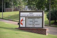 Pierwszy Zlany kościół metodystów, Covington, TN obraz stock