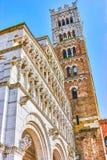Pierzeja święty Martin wycieczki turysyczne Katedralne w Lucca, Włochy obrazy royalty free