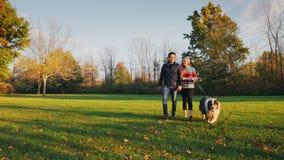 Pies łama smycz i biega Wieloetniczny pary odprowadzenie z psem w jesień parku zbiory wideo